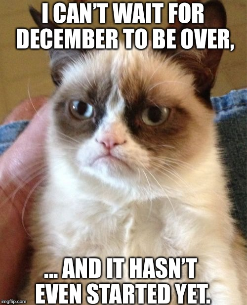 Grumpy Cat Meme | I CAN'T WAIT FOR DECEMBER TO BE OVER, ... AND IT HASN'T EVEN STARTED YET. | image tagged in memes,grumpy cat | made w/ Imgflip meme maker