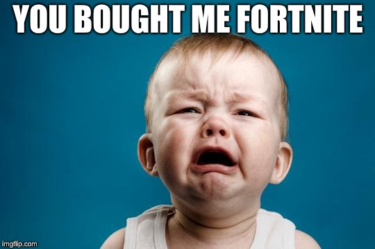 BABY CRYING | YOU BOUGHT ME FORTNITE | image tagged in baby crying | made w/ Imgflip meme maker