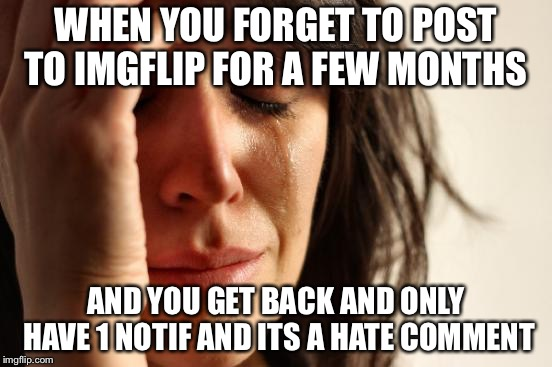 First World Problems Meme | WHEN YOU FORGET TO POST TO IMGFLIP FOR A FEW MONTHS AND YOU GET BACK AND ONLY HAVE 1 NOTIF AND ITS A HATE COMMENT | image tagged in memes,first world problems | made w/ Imgflip meme maker