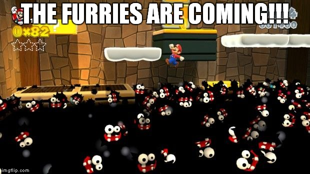 Oh Noes! Run From The Swarm of Furries! | THE FURRIES ARE COMING!!! | image tagged in memes,furries,furry,mario,super mario bros | made w/ Imgflip meme maker