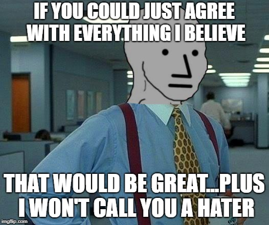NPC Logic | IF YOU COULD JUST AGREE WITH EVERYTHING I BELIEVE THAT WOULD BE GREAT...PLUS I WON'T CALL YOU A HATER | image tagged in memes,that would be great | made w/ Imgflip meme maker