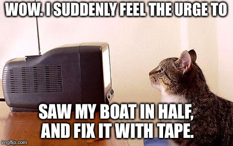 WOW. I SUDDENLY FEEL THE URGE TO SAW MY BOAT IN HALF, AND FIX IT WITH TAPE. | image tagged in cat watching tv | made w/ Imgflip meme maker