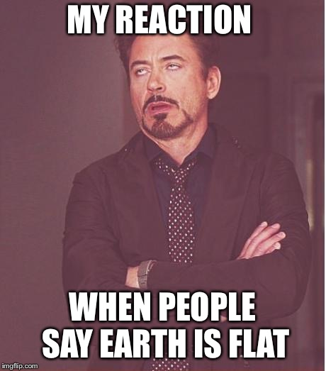 Face You Make Robert Downey Jr Meme | MY REACTION WHEN PEOPLE SAY EARTH IS FLAT | image tagged in memes,face you make robert downey jr | made w/ Imgflip meme maker