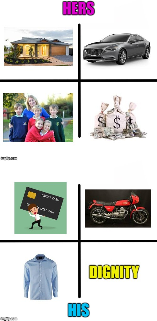 DIVORCE STARTER PACK | HERS HIS | image tagged in divorce,blank starter pack,men and women | made w/ Imgflip meme maker