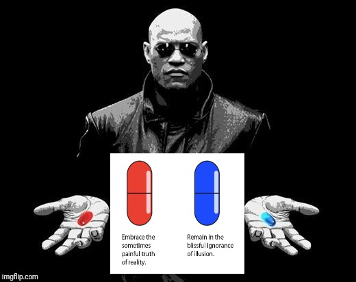 Reality vs Illusion | image tagged in red pill blue pill,morpheus,democrat,republican,reality | made w/ Imgflip meme maker