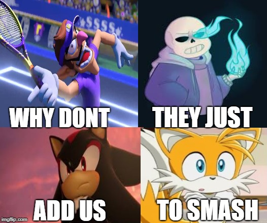 Please add them to smash  | WHY DONT THEY JUST ADD US TO SMASH | image tagged in memes | made w/ Imgflip meme maker