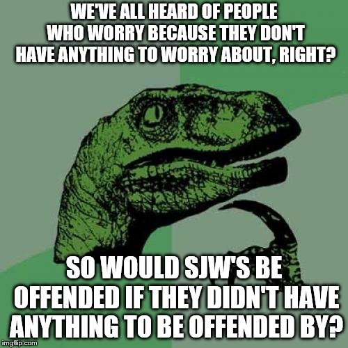 Philosoraptor Meme | WE'VE ALL HEARD OF PEOPLE WHO WORRY BECAUSE THEY DON'T HAVE ANYTHING TO WORRY ABOUT, RIGHT? SO WOULD SJW'S BE OFFENDED IF THEY DIDN'T HAVE A | image tagged in memes,philosoraptor | made w/ Imgflip meme maker