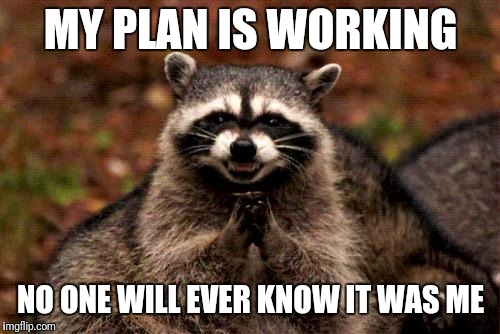 Evil Plotting Raccoon Meme | MY PLAN IS WORKING NO ONE WILL EVER KNOW IT WAS ME | image tagged in memes,evil plotting raccoon | made w/ Imgflip meme maker