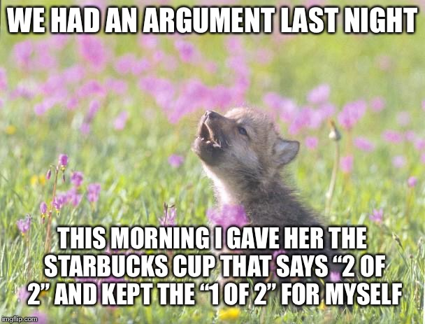 "Baby Insanity Wolf Meme | WE HAD AN ARGUMENT LAST NIGHT THIS MORNING I GAVE HER THE STARBUCKS CUP THAT SAYS ""2 OF 2"" AND KEPT THE ""1 OF 2"" FOR MYSELF 