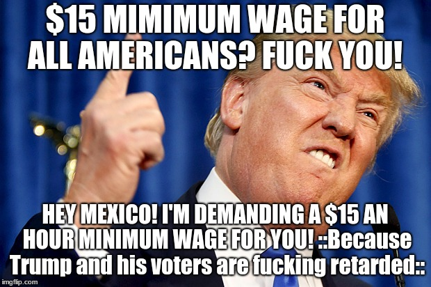 Trump says FUCK YOU to American Workers!  | $15 MIMIMUM WAGE FOR ALL AMERICANS? F**K YOU! HEY MEXICO! I'M DEMANDING A $15 AN HOUR MINIMUM WAGE FOR YOU! ::Because Trump and his voters a | image tagged in donald trump,president,mexico,minimum wage,retarded,maga | made w/ Imgflip meme maker