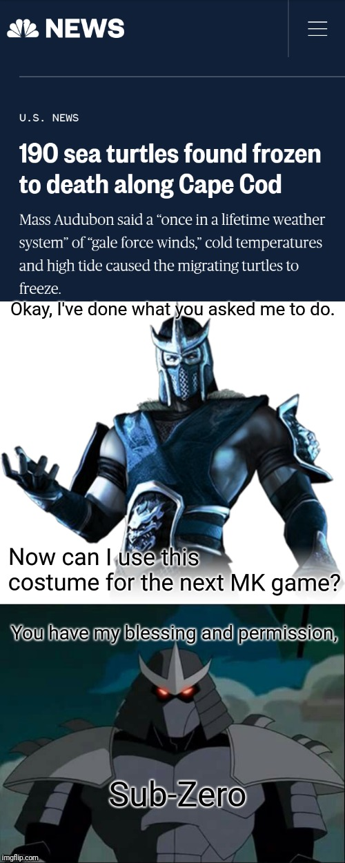 I hope we get this costume as an alternate for Mortal Kombat 11 | Okay, I've done what you asked me to do. Now can I use this costume for the next MK game? You have my blessing and permission, Sub-Zero | image tagged in mortal kombat,teenage mutant ninja turtles,sub-zero,shredder,turtles | made w/ Imgflip meme maker