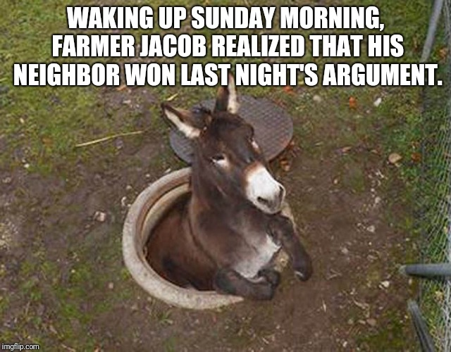 Argument Settled: Amish Style | WAKING UP SUNDAY MORNING, FARMER JACOB REALIZED THAT HIS NEIGHBOR WON LAST NIGHT'S ARGUMENT. | image tagged in farmer,argument,ass,donkey,hole,amish | made w/ Imgflip meme maker
