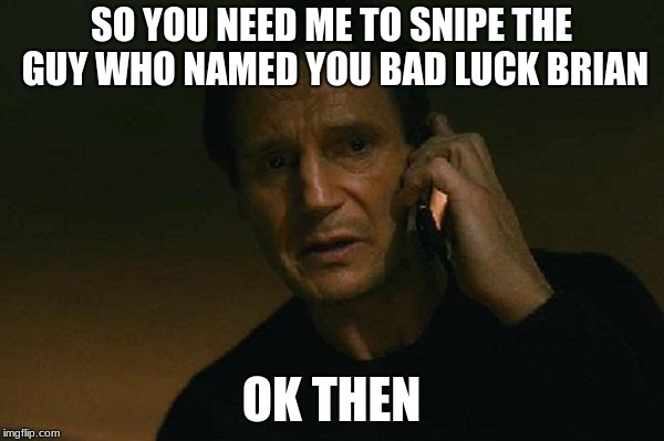 Liam neeson phone call | SO YOU NEED ME TO SNIPE THE GUY WHO NAMED YOU BAD LUCK BRIAN OK THEN | image tagged in liam neeson phone call | made w/ Imgflip meme maker