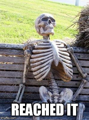 Waiting Skeleton Meme | REACHED IT | image tagged in memes,waiting skeleton | made w/ Imgflip meme maker
