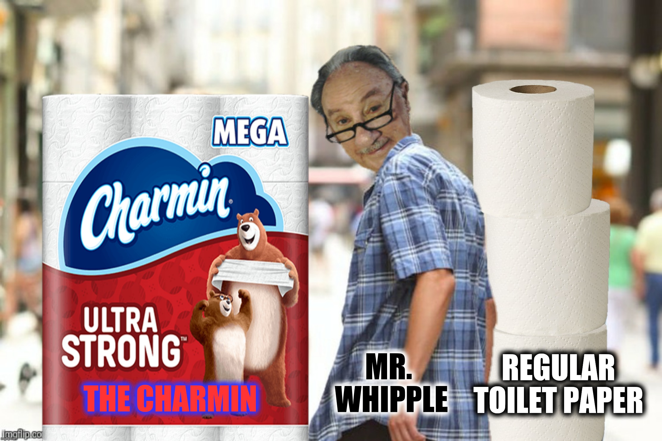 Bad Photoshop Sunday presents:  Please don't squeeze the meme! | THE CHARMIN REGULAR TOILET PAPER MR. WHIPPLE | image tagged in bad photoshop sunday,distracted boyfriend,mr whipple,the charmin | made w/ Imgflip meme maker