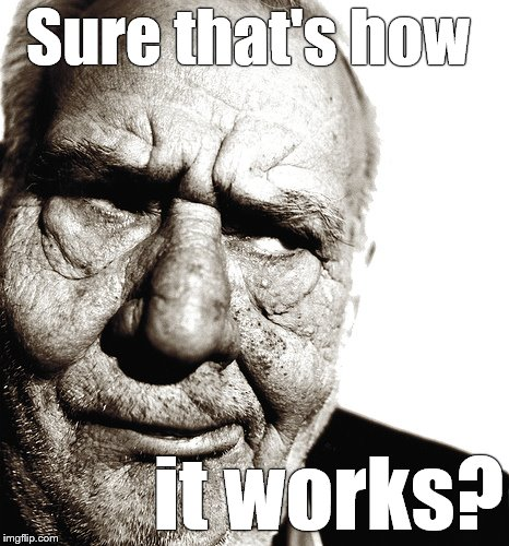 Skeptical old man | Sure that's how it works? | image tagged in skeptical old man | made w/ Imgflip meme maker