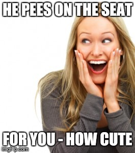 HE PEES ON THE SEAT FOR YOU - HOW CUTE | image tagged in shocked woman | made w/ Imgflip meme maker