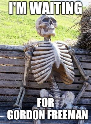 Endless waiting | I'M WAITING FOR  GORDON FREEMAN | image tagged in memes,waiting skeleton,gordon freeman,half life 3 | made w/ Imgflip meme maker