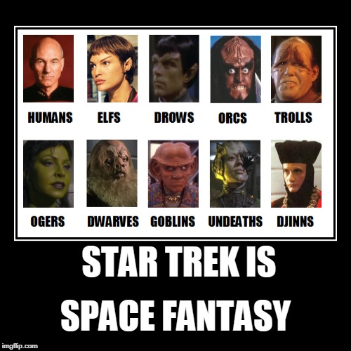 STAR TREK IS SPACE FANTASY | STAR TREK IS | SPACE FANTASY | image tagged in funny,memes,star trek,fantasy | made w/ Imgflip demotivational maker