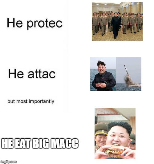 He protec he attac but most importantly | HE EAT BIG MACC | image tagged in he protec he attac but most importantly | made w/ Imgflip meme maker