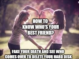 Friendship | HOW TO KNOW WHO'S YOUR BEST FRIEND? FAKE YOUR DEATH AND SEE WHO COMES OVER TO DELETE YOUR HARD DISK | image tagged in friendship | made w/ Imgflip meme maker