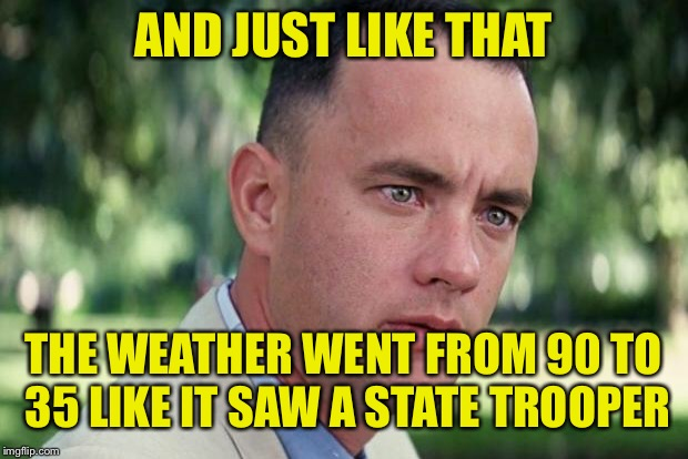 It's getting colder. | AND JUST LIKE THAT THE WEATHER WENT FROM 90 TO 35 LIKE IT SAW A STATE TROOPER | image tagged in forrest gump,puns,jokes | made w/ Imgflip meme maker