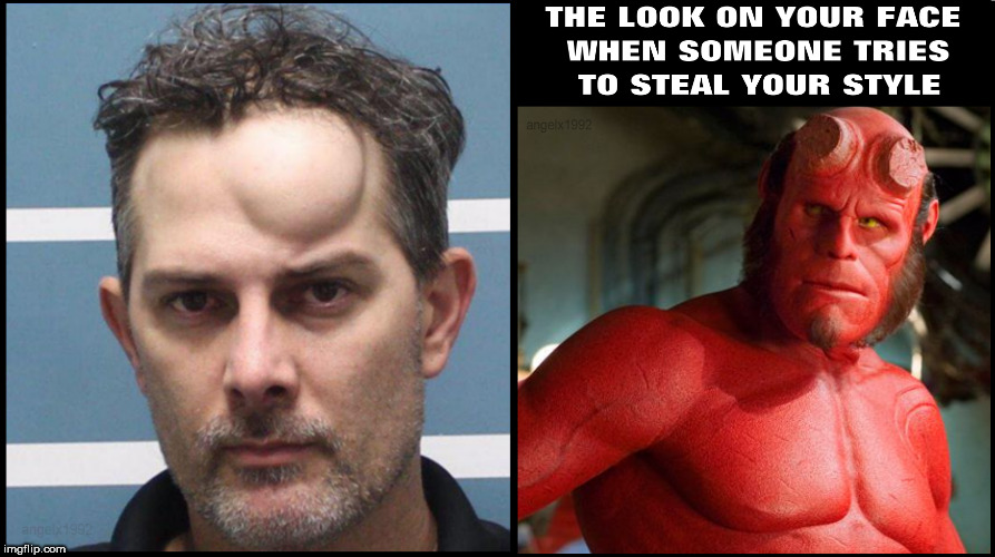 image tagged in style,copycat,horns,demon,superhero,mugshot | made w/ Imgflip meme maker