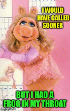 Miss Piggy | I WOULD HAVE CALLED SOONER BUT I HAD A FROG IN MY THROAT | image tagged in miss piggy | made w/ Imgflip meme maker