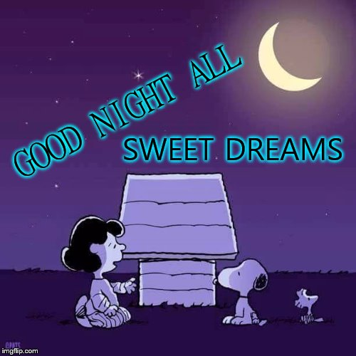 good night all | GOOD NIGHT ALL SWEET DREAMS | image tagged in good night,sweet dreams,snoopy,moon,stars | made w/ Imgflip meme maker