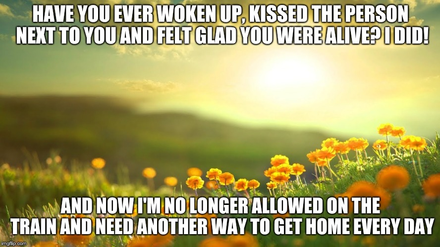HAVE YOU EVER WOKEN UP, KISSED THE PERSON NEXT TO YOU AND FELT GLAD YOU WERE ALIVE? I DID! AND NOW I'M NO LONGER ALLOWED ON THE TRAIN AND NE | image tagged in funny | made w/ Imgflip meme maker