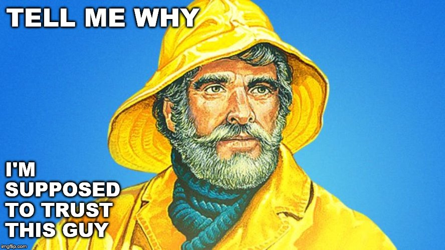 Should I Do It? | TELL ME WHY I'M SUPPOSED TO TRUST THIS GUY | image tagged in gorton's,fisherman,trust | made w/ Imgflip meme maker