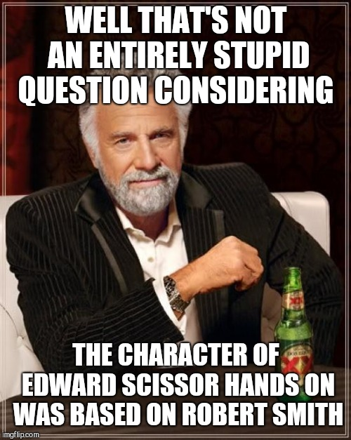 The Most Interesting Man In The World Meme | WELL THAT'S NOT AN ENTIRELY STUPID QUESTION CONSIDERING THE CHARACTER OF EDWARD SCISSOR HANDS ON WAS BASED ON ROBERT SMITH | image tagged in memes,the most interesting man in the world | made w/ Imgflip meme maker
