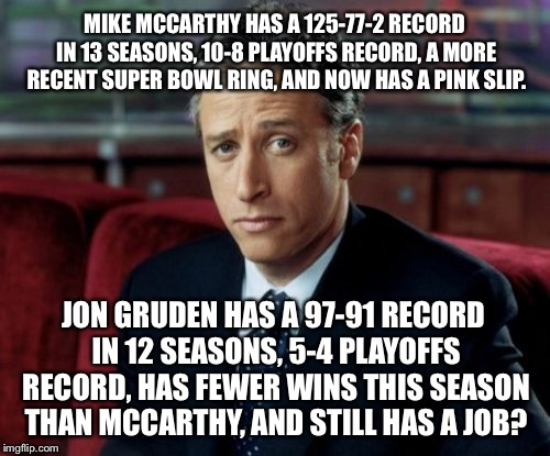 Seriously? McCarthy got the boot but Gruden still has a job? | MIKE MCCARTHY HAS A 125-77-2 RECORD IN 13 SEASONS, 10-8 PLAYOFFS RECORD, A MORE RECENT SUPER BOWL RING, AND NOW HAS A PINK SLIP. JON GRUDEN  | image tagged in memes,jon stewart skeptical,nfl football,packers,jon gruden,fired | made w/ Imgflip meme maker