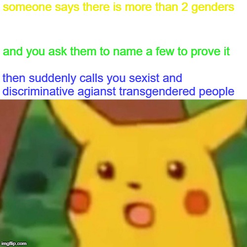 SJW's are mentally insane individuels Change my mind | someone says there is more than 2 genders and you ask them to name a few to prove it then suddenly calls you sexist and discriminative agian | image tagged in memes,surprised pikachu,funny,down with sjw's | made w/ Imgflip meme maker