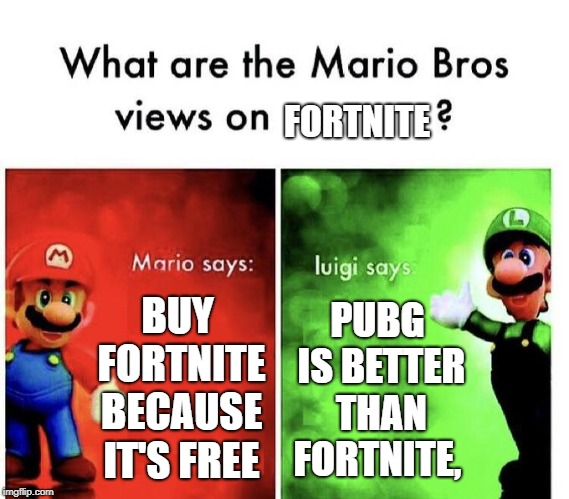 Mario Bros Views | BUY FORTNITE BECAUSE IT'S FREE PUBG IS BETTER THAN FORTNITE, FORTNITE | image tagged in mario bros views | made w/ Imgflip meme maker