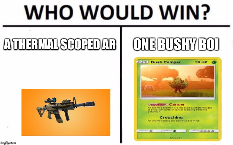 Who Would Win? Meme | A THERMAL SCOPED AR ONE BUSHY BOI | image tagged in memes,who would win | made w/ Imgflip meme maker