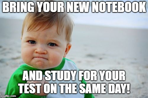 Success Kid Original | BRING YOUR NEW NOTEBOOK AND STUDY FOR YOUR TEST ON THE SAME DAY! | image tagged in memes,success kid original | made w/ Imgflip meme maker