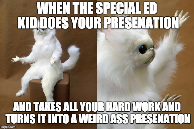 The first one, BurningAloe made it after me | WHEN THE SPECIAL ED KID DOES YOUR PRESENATION AND TAKES ALL YOUR HARD WORK AND TURNS IT INTO A WEIRD ASS PRESENATION | image tagged in memes,persian cat room guardian | made w/ Imgflip meme maker
