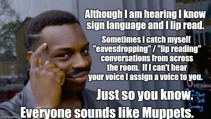 "There's An Amazing World All Around You.   | Although I am hearing I know sign language and I lip read. Sometimes I catch myself ""eavesdropping"" / ""lip reading"" conversations from acros 