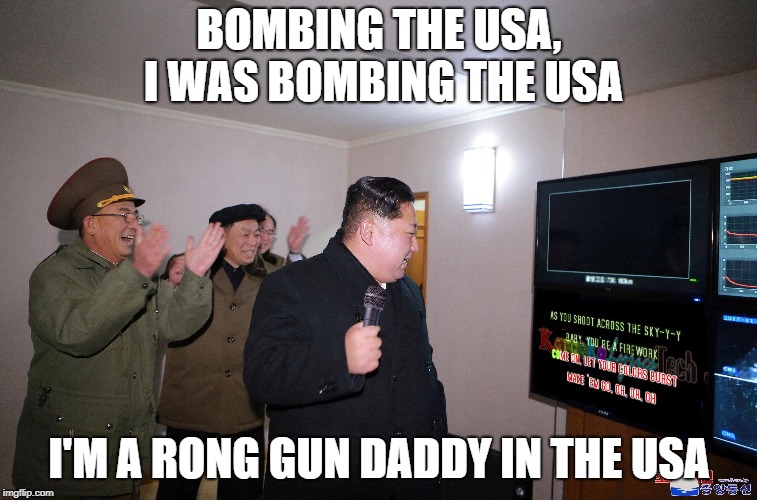 Wrong lyrics karaoke Kim | BOMBING THE USA, I WAS BOMBING THE USA I'M A RONG GUN DADDY IN THE USA | image tagged in bruce springsteen,karaoke,kim jong un | made w/ Imgflip meme maker