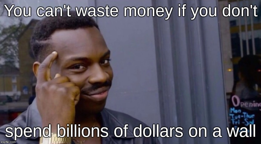 Wasting money on a wall | You can't waste money if you don't spend billions of dollars on a wall | image tagged in donald trump is an idiot | made w/ Imgflip meme maker