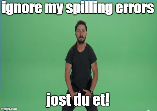 ignore my spilling errors; jost du et! | image tagged in memes,shia labeouf just do it,grammar nazi | made w/ Imgflip meme maker