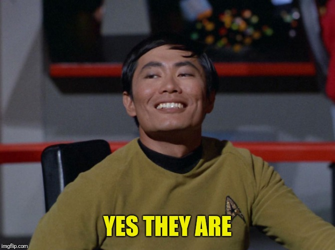 Sulu smug | YES THEY ARE | image tagged in sulu smug | made w/ Imgflip meme maker