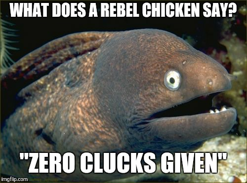 "Bad to the beak | WHAT DOES A REBEL CHICKEN SAY? ""ZERO CLUCKS GIVEN"" 