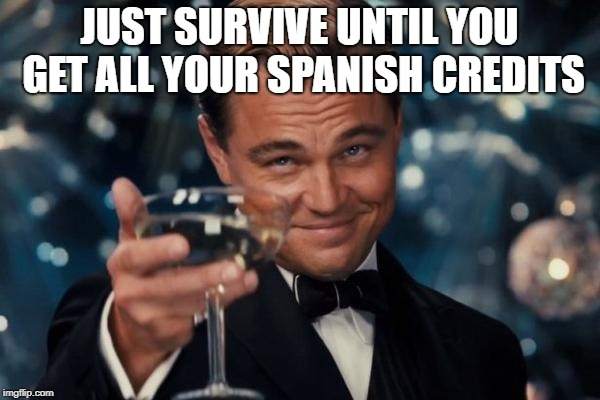 Leonardo Dicaprio Cheers Meme | JUST SURVIVE UNTIL YOU GET ALL YOUR SPANISH CREDITS | image tagged in memes,leonardo dicaprio cheers | made w/ Imgflip meme maker