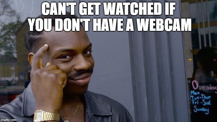 Roll Safe Think About It Meme | CAN'T GET WATCHED IF YOU DON'T HAVE A WEBCAM | image tagged in memes,roll safe think about it | made w/ Imgflip meme maker