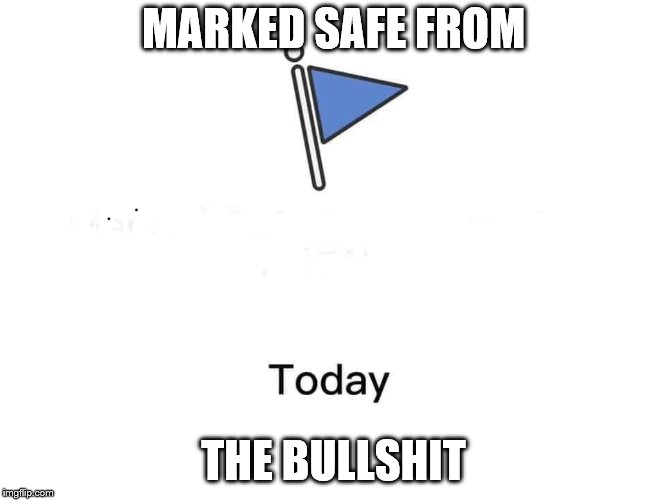Marked safe from | MARKED SAFE FROM THE BULLSHIT | image tagged in marked safe from | made w/ Imgflip meme maker