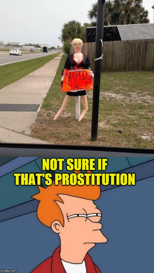 NOT SURE IF THAT'S PROSTITUTION | image tagged in memes,futurama fry,funny,blowup doll | made w/ Imgflip meme maker