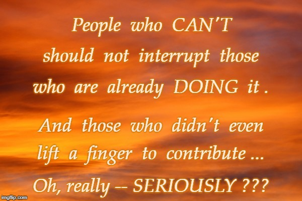 Interrupting Now, Are You? | People  who  CAN'T Oh, really -- SERIOUSLY ??? should  not  interrupt  those who  are  already  DOING  it . And  those  who  didn't  even li | image tagged in can't,doing,seriously | made w/ Imgflip meme maker