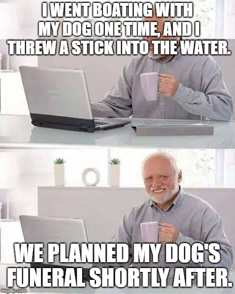 Don't do this when you go boating. | I WENT BOATING WITH MY DOG ONE TIME, AND I THREW A STICK INTO THE WATER. WE PLANNED MY DOG'S FUNERAL SHORTLY AFTER. | image tagged in memes,hide the pain harold | made w/ Imgflip meme maker
